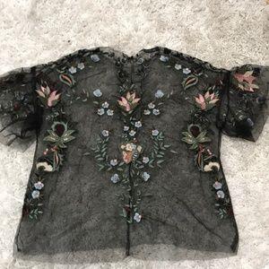 Zara Black Embroidered Top